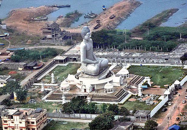 An aerial view of the Vijayawada-Guntur region where Amaravati - the historical Buddhist site along the Krishna River - is located.