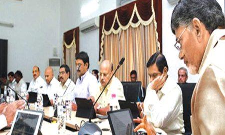 Chief Minister of Andhra Pradesh, N Chandrababu Naidu, presides over an eCabinet meeting