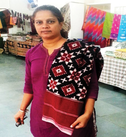 Saraswati Kavula, a social worker and a documentary film-maker, who organises Chenetha Santha expo, exhibits handmade clothes at the expo