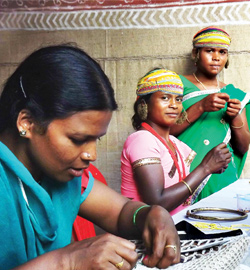 Tribal women associated with Vat Vrikshya at work