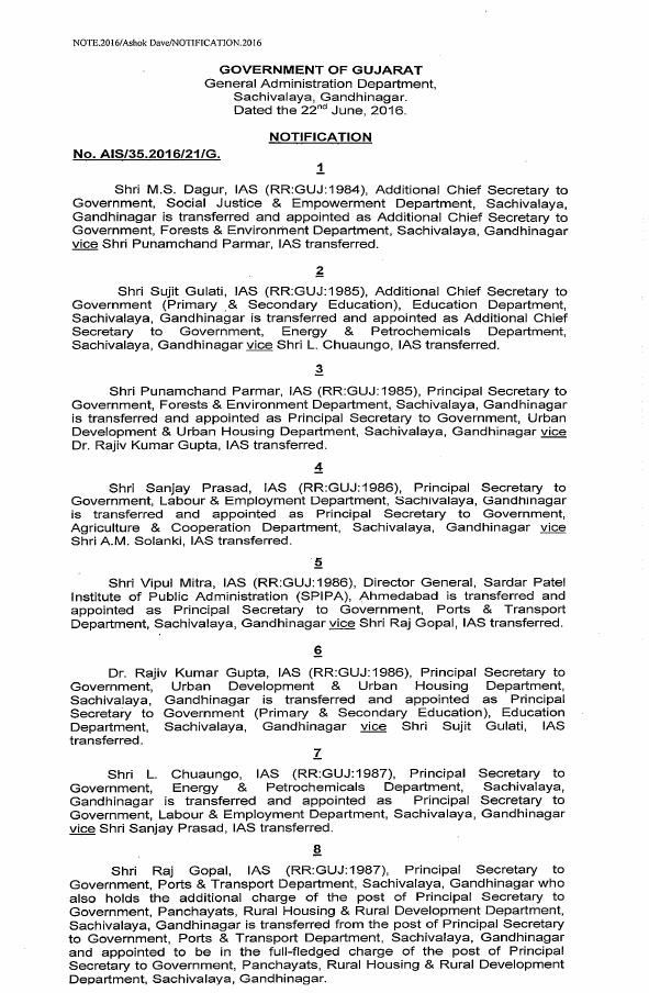 Gujarat IAS Transfers-List 1
