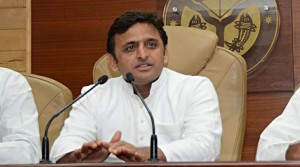 Uttar Pradesh Chief Minister Akhilesh Yadav addressing a press conference at Shastri Bhawan In Lucknow on Tuesday. Express photo by Vishal Srivastav 21.10.2014