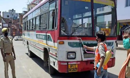 UPSRTC, complying with preventive measures, resume buses