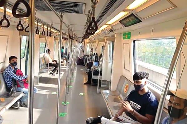 social distancing in metro train